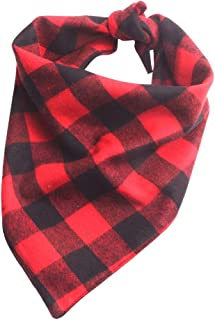 YAKA Pet Dog Bandana Triangle Bibs Scarf, Double-Cotton Plaid Printing Kerchief Set Accessories for Small and Medium Dog