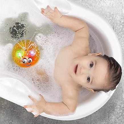 Spray Water Baby Bath Toy,Hamkaw Sprinkler Ball Toy,Water Splash Ball Toy with Light for Kids,Baby Bathtime Fun, Ideal Bath Toy Summer Pool Toy