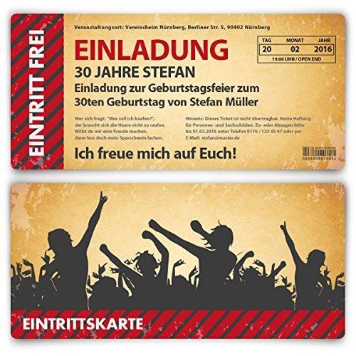 Einladungskarten zum Geburtstag (30 Stück) als Eintrittskarte im Vintage-Look Ticket Karte Einladung