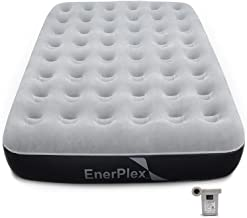 EnerPlex Never-Leak Camping Series Queen Camping Airbed with High Speed Pump Never Queen Size Air Mattress Single High Inflatable Blow Up Bed for Home Camping Travel 2-Year Warranty – Grey/Black