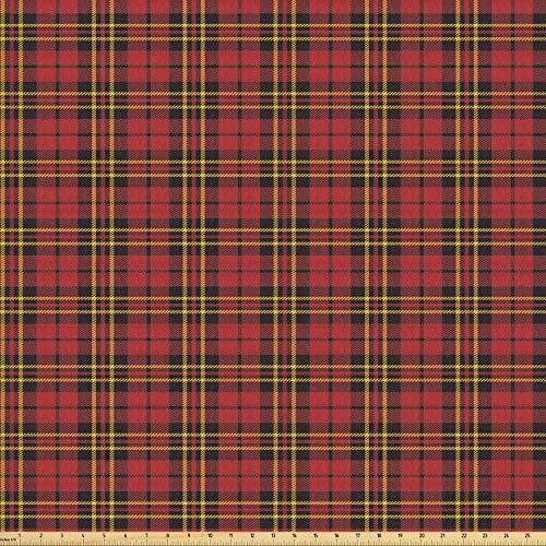 ABAKUHAUS Geruit Stof per strekkende meter, Old Celtic Britse, Stretch Gebreide Stof voor Kleding Naaien en Kunstnijverheid, 2 m, Rood Zwart Geel