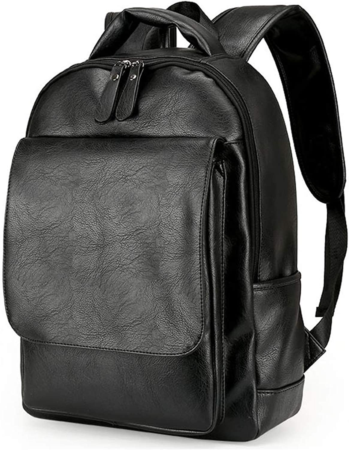 Leather Men Backpacks Rucksack Schoolbags Black Business Laptop Bags