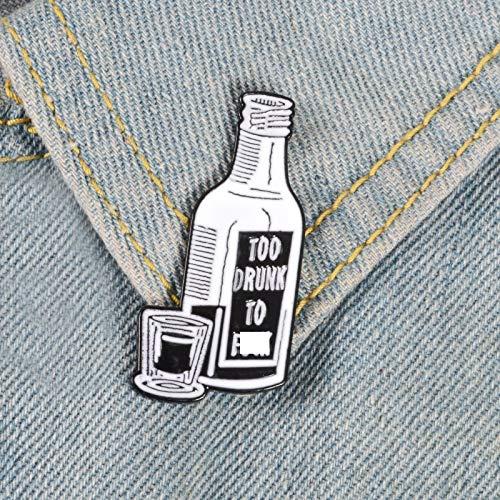 XIAODAN Periódico Botella de Vino Pin esmaltado Noticias Falsas Demasiado Borracho Broche Bolsa Ropa Pin de Solapa botón Insignia joyería Regalo para Amigos Vino