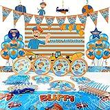 MOLECOLE 81Pcs Blippi Birthday Party Supplies kit,12' Balloons for Kids Birthday Party Supplies,Background,Blippi Party Plate,Tablecloth,Blippi Theme Party Supplies