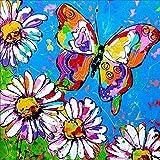 Reofrey 5D Diamond Painting Mariposa Crisantemo, Pintura Diamante Bricolaje Completo Taladro Arte, Punto de Cruz Diamantes Bordado Pegatinas de Pared Decoración de La sala (35x35cm)