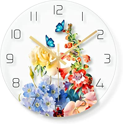 MAlex Wall Clock Simple Flowers Stylish Transparent Glass Clock