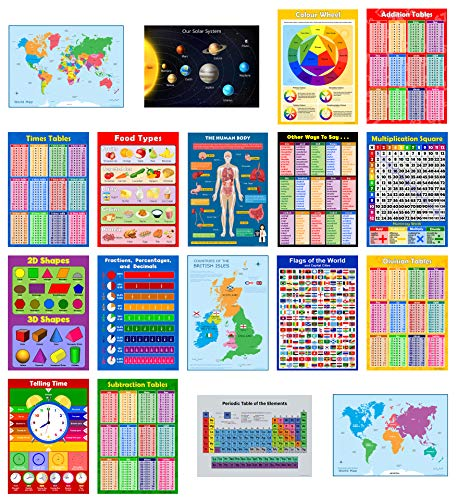 SCHOOL 18 x EDUCATIONAL GLOSSY POSTERS for Children, Primary, Junior, Classroom Wall Chart Learning Childrens Set Pack - Day care, Home schooling. Times Tables, Learn Time, Shapes, Planets