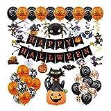 CARCTR Halloween Deko Allerheiligen Party Deko Luftballons 49 Stück Grusel Dekoration Set Halloween Buchstabenbanner Kürbis Schwarze Katze für Party Supplies Halloween Trick