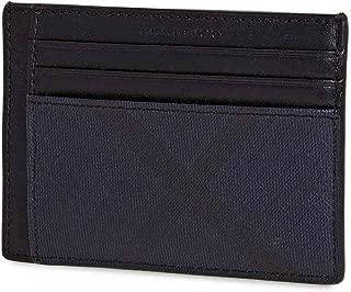 London Check Money Clip Card Case in Navy/Black