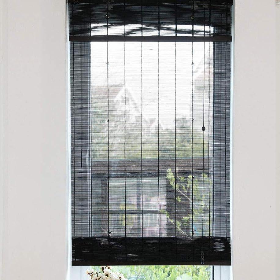 花バター韻GXH- 75%遮光ヨーロッパの天然竹のカーテン、ロールブラインド、ベネチアンブラインド、プライバシーカーテン、家庭用屋外アクセサリー(ブラック)