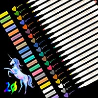 Rotuladores metálicos, Leenou 20pc rotuladores, juego de 20 colores surtidos para dibujo de álbum de fotos/regalo de cumpleaños por bricolaje/Hacer tarjetas/Scrapbooking, Pintura de roca Vidrio