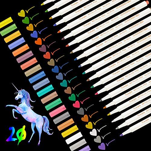 Pennarelli Metallici, Leenou 20 Pz Metallic Marker Penne, 20 Colori Assortiti Per Album Fotografico Fai Da Te, Scatole e Biglietti, Utilizzo su Qualsiasi Carta e Superfici in Vetro, Tazza o Ceramica
