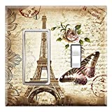 Graphics Wallplates - Je T'Aime Eiffel Tower Paris - Rocker/GFCI Toggle Combo Wall Plate Cover
