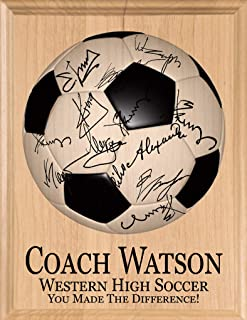 Broad Bay Soccer Coach Gift SIGNABLE Personalized Coaches Plaque for Team Signatures & Thank You Notes