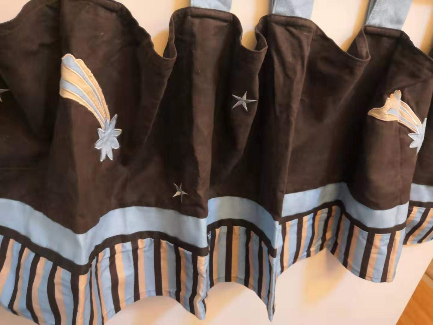 Brown Nursery Room Window Star Outlet ☆ Free Shipping Sale price Valanc Valance Embroidered