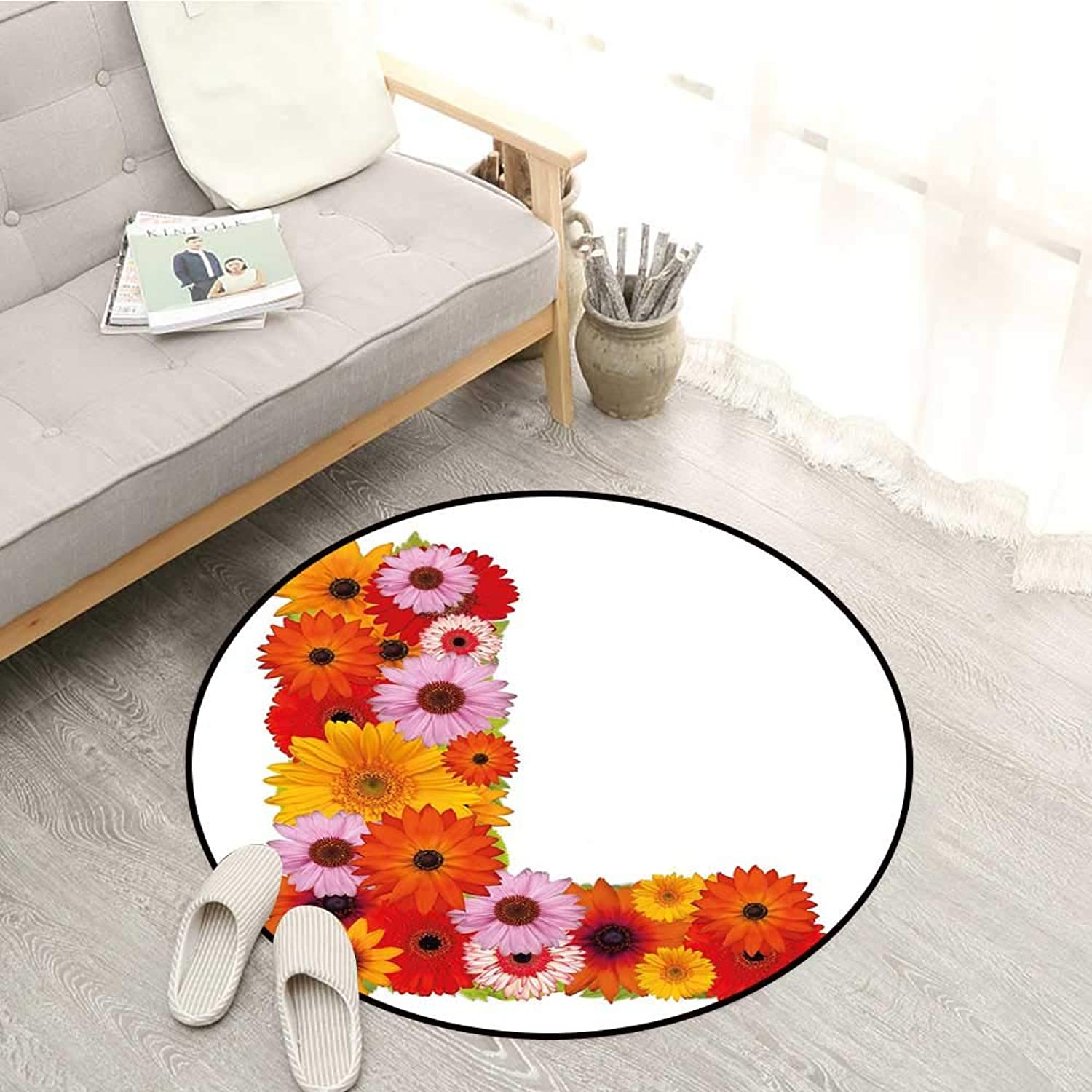 Letter L Living Room Round Rugs Flower Alphabet with Gerbera Petals Fragrance Flourishing Nature Garden Symbols Sofa Coffee Table Mat 4'7  Multicolor