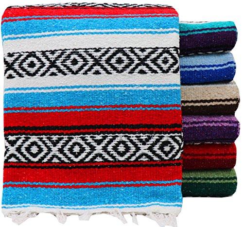 threads west Genuine Mexican Handwoven Blanket, Premium Large Heavyweight Falsa Blanket, Serape & Yoga Blanket   Beach Blanket   Throw Blanket   Picnic Blanket (Large Heavy, Random Color)