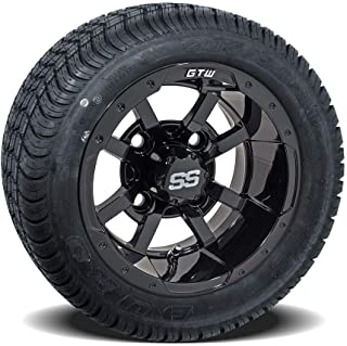 GTW (Set of 4) Golf Cart Wheels & Tires - 10 inch Storm Trooper Wheels on Duro Lo-Profile Street Tires