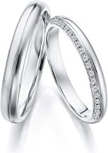 Gnzoe 1 Pair 18K White Gold Wedding Bands for Bride and Birdegroom Smooth Round with Diamond 0.1ct Engagement Wedding Ring for Him & Her