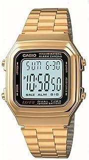 ساعة بمينا رمادي وسوار ستانلس ستيل وعرض رقمي للرجال من كاسيو - A178WGA-1ADF