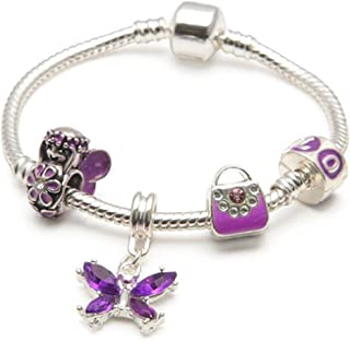 Liberty Charms Childrens Kids 'Purple Fairy and Butterflies' Silver Plated Charm Bead Bracelet
