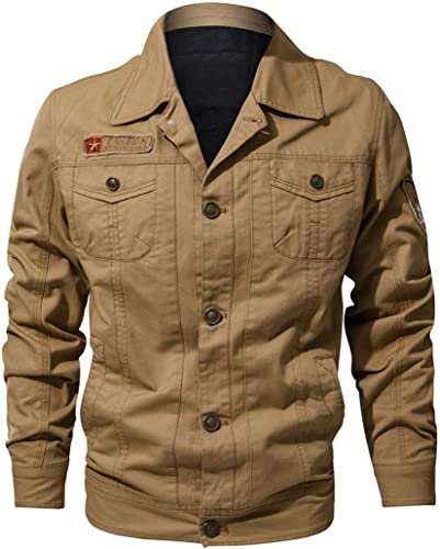 Qiusa Mode Chaude 100% Coton Boutonnage Vestons décontractés légers Hommes avec Poche Kaki (Couleuré   -, Taille   -)