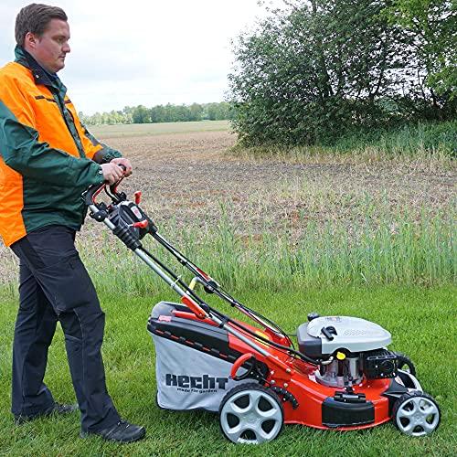 HECHT 5IN1 Benzin Rasenmäher – Leistungsstarker 4 Takt Motor mit 3,6 kW, Elektrostart, 51 cm Schnittbreite, 60l Fangkorb, 4-Gang Radantrieb, patentierte Räder, Mulchfunktion und Seitenauswurf