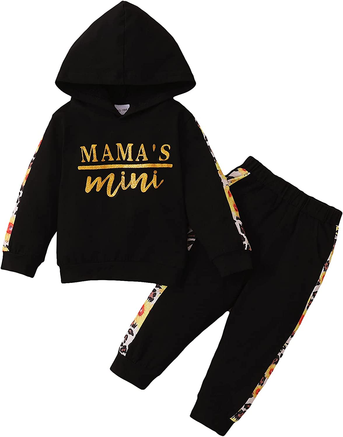RomperinBox Toddler Baby Fall Outfits Printed Hoodie Sweatshirt Tops Pants Winter 2Pcs Tracksuit Clothes Set