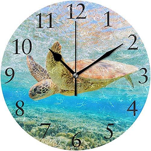 Cy-ril Horloge Murale de Tortue de mer hawaïenne Horloge Murale Ronde silencieuse fonctionnant sur Batterie sans tic