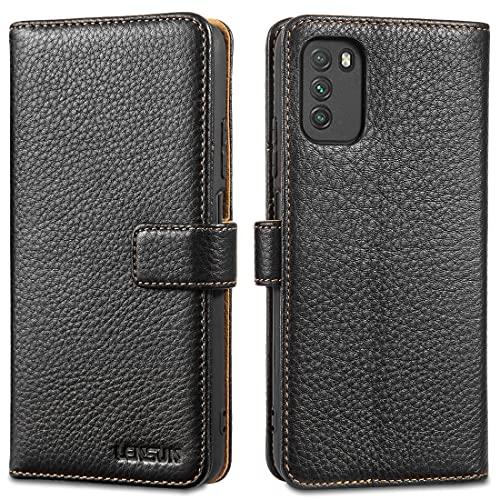 LENSUN Echtleder Hülle für Xiaomi Poco M3, Premium Echtes Leder Handyhülle Handytasche Lederhülle kompatibel mit Xiaomi Poco M3 (6,53