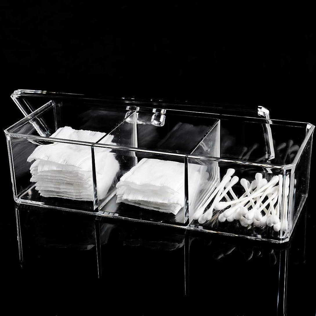 農奴満員アスレチックメイクボックス 綿棒ボックス アクリルケース 3コンパートメント 多機能 化粧品 ジュエリー収納 楊枝入れ 蓋付きコスメ小物 収納