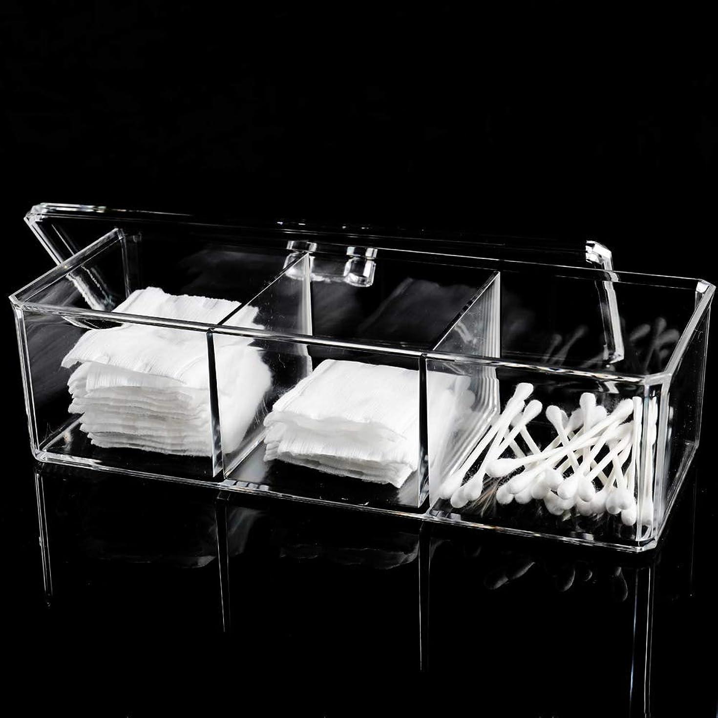 面白いクラック閉じるメイクボックス 綿棒ボックス アクリルケース 3コンパートメント 多機能 化粧品 ジュエリー収納 楊枝入れ 蓋付きコスメ小物 収納
