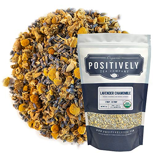 Positively Tea Company, Organic Lavender Chamomile, Herbal Tea, Loose Leaf, 16 Ounce