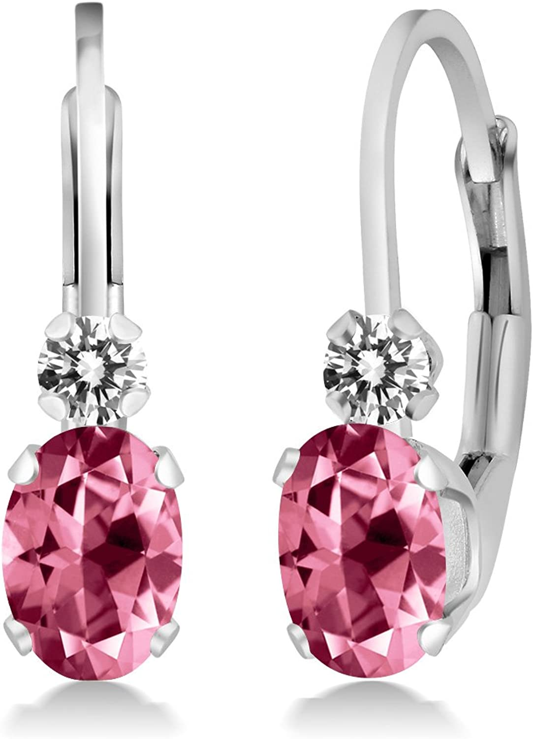 1.07 Ct 925 Sterling Silver Earrings Made With Oval Pink Swarovski Topaz