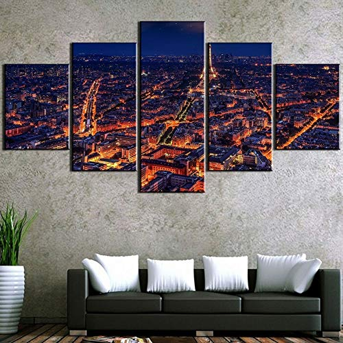 5 Canvas paintings Canvas Art Light Up Paris Modern Decorative Paintings on Canvas for Home Decorations Wall Decor Artwork Frameless