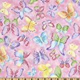 Fabric Editions Tossed Butterflies Pink Metallic Fabric By The Yard