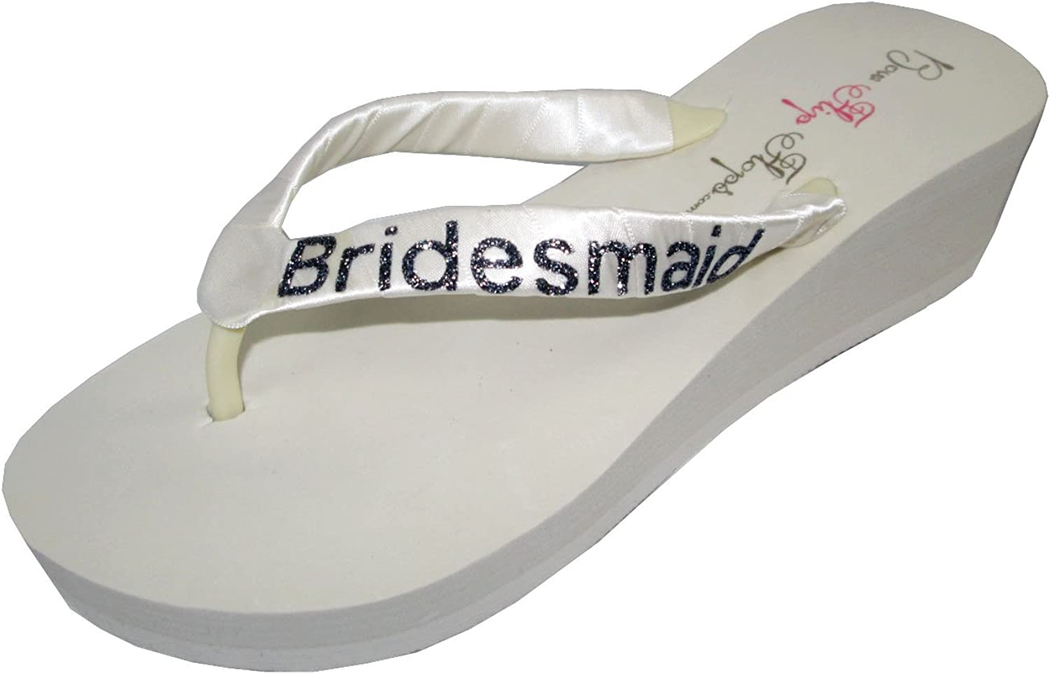 Bridesmaid Glitter Satin Strap Flip Flops in Ivory and Black