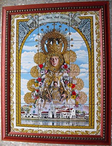 Rustiluz Cuadro Nuestra Señora del Rocio de Azulejos Enmarcado.