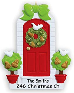 Personalized New Home Our First Home Glittered Door Wreath with Partridge Birds and Pear Trees Christmas Ornament Holiday Tree Decoration with Custom Name and Address