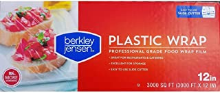 Berkley Jensen Professional Plastic Wrap with Cutter Slide 3000 Foot X 12 Inches Food Service Film