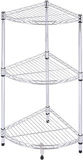 Tangkula 3-Tier Corner Shelves, Display Shelf Kitchen Bathroom Storage Wire Shelving, Corner Rack