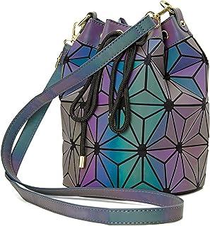 Geometric Bag Changeable shape Luminous Purses Top Handle Satchel Shoulder Large Handbags Leather Rainbow Holographic Bag