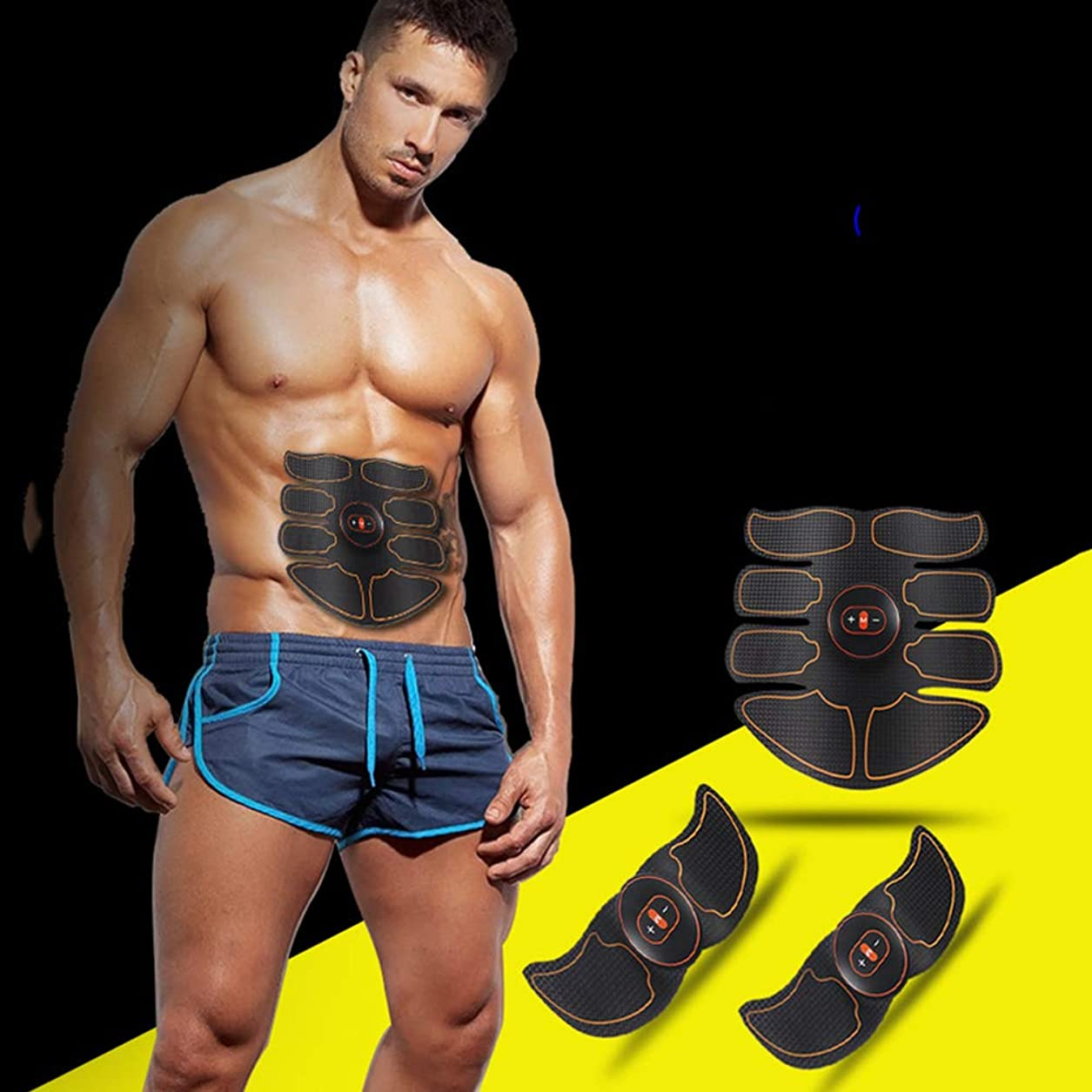 寛容薬を飲む地下室USB電気腹筋トレーニング装置EMS筋刺激器腹筋ウエスト減量マッサージャースポーツフィットネス機器ユニセックス,Yellow