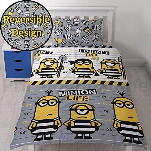 Universal Despicable Me Jailbird - Conjunto de ropa de cama con funda de edredón, diseño impreso repetido de minions, para cama individual, microfibra, multicolor, suelto