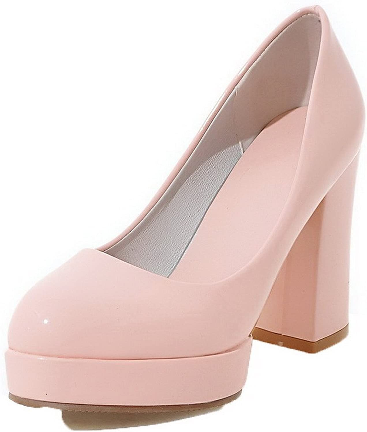 AmoonyFashion Women's Round Closed Toe Pull-On Patent Leather Solid Pumps-shoes,BUSDT003125