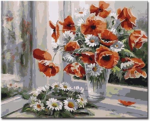 NGDDXTG Peinture DIY par Numéros Kits Couleuriage Peinture à La Main Fenêtre Fleurs Photos à l'huile Numérique Dessin Abstrait Décor à La Maison Art