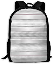 Adult Travelc Laptop Backpack,Trippy Stripes With Wooden Zig Zag Effects Party Elements Featured Image Print,College School Computer Bookbag
