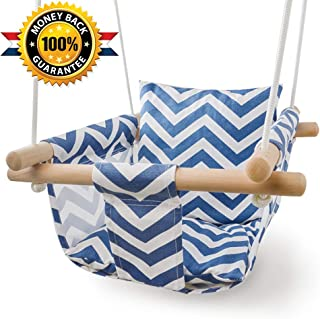 Patio Canvas Hanging Swing Hammock for Toddler (Blue/White)