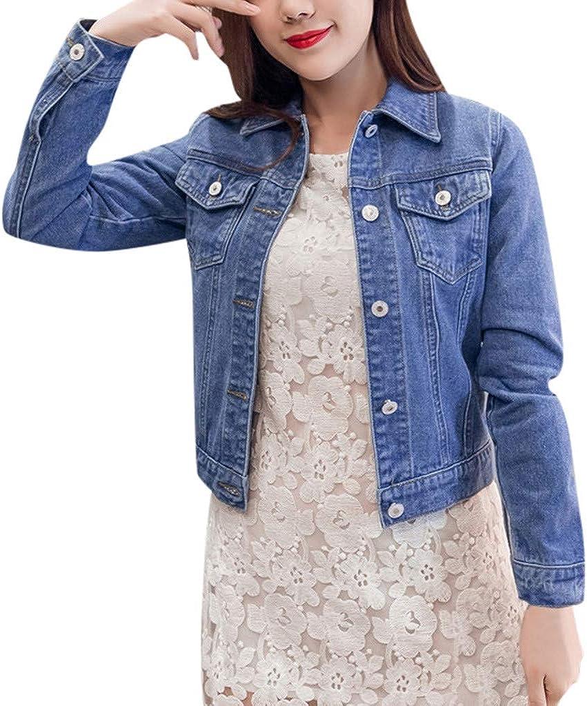 Fashion Womens Lapel Solid Casual Denim Buttons Blazer Jeans Jacket Cardigan