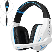Anivia AH18 Stereo Gaming Headset for PS4, PC, Xbox One Controller, Noise-Isolating Over Ear Headphones with Mic, Bass Surround, Soft Memory Earmuffs for Laptop Mac Nintendo Switch Wii PSP, White